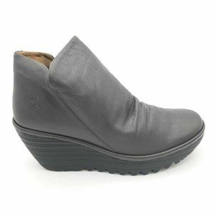 FLY London YIP Ankle Booties Gray Wedge 39 New